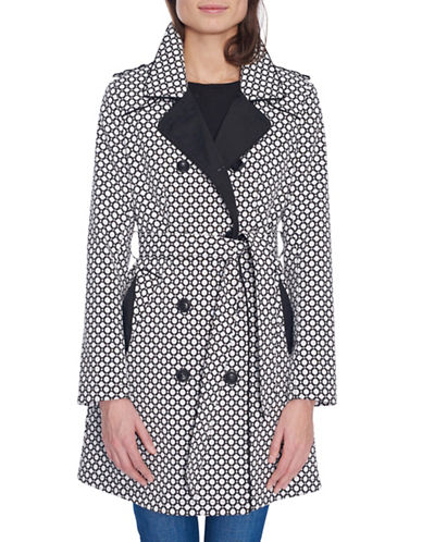 London Fog Jacquard Belted Trench Coat-CREAM/BLACK-X-Small