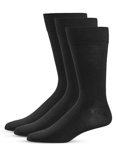 Black Brown 1826 Three-Pack Crew Socks Set-BLACK-7-12
