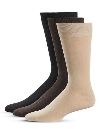 Black Brown 1826 Three-Pack Crew Socks Set-BROWN-7-12