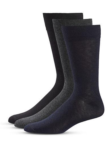 Black Brown 1826 Three-Pack Crew Socks Set-OXFORD BLACK-7-12