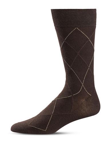 Black Brown 1826 Diamond Crew Socks-BROWN-7-12