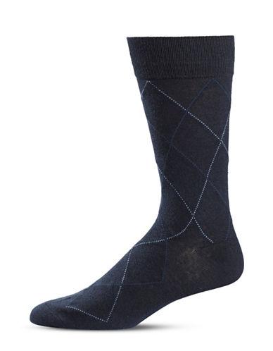 Black Brown 1826 Diamond Crew Socks-BLUE-7-12