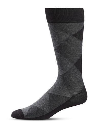 Black Brown 1826 Diamond Crew Socks-BLACK-7-12