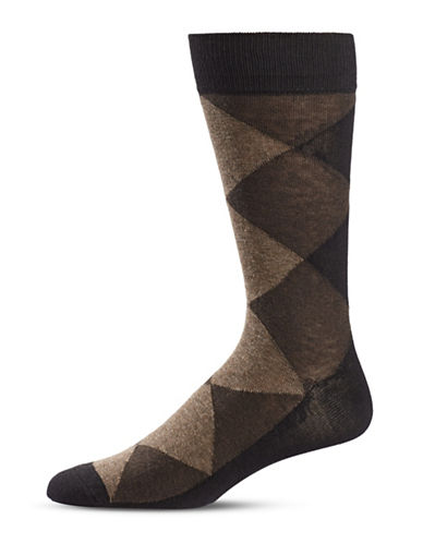 Black Brown 1826 Diamond Crew Socks-BROWN-7-12