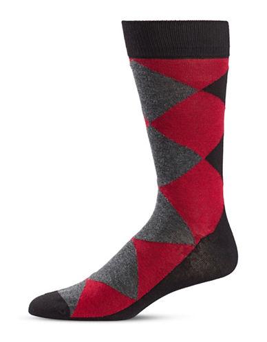 Black Brown 1826 Diamond Crew Socks-GREY-7-12