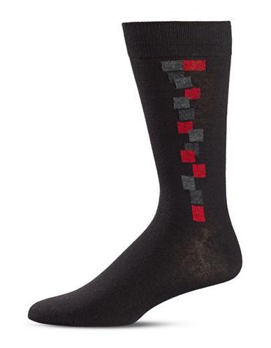 Black Brown 1826 Square Crew Socks-BLACK-7-12