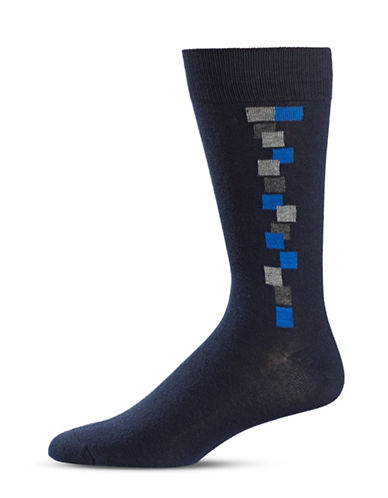 Black Brown 1826 Square Crew Socks-BLUE-7-12