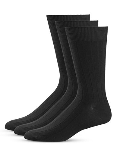 Black Brown 1826 Three-Pack Stripe Crew Socks Set-BLACK-7-12