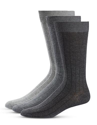 Black Brown 1826 Three-Pack Stripe Crew Socks Set-GREY-7-12