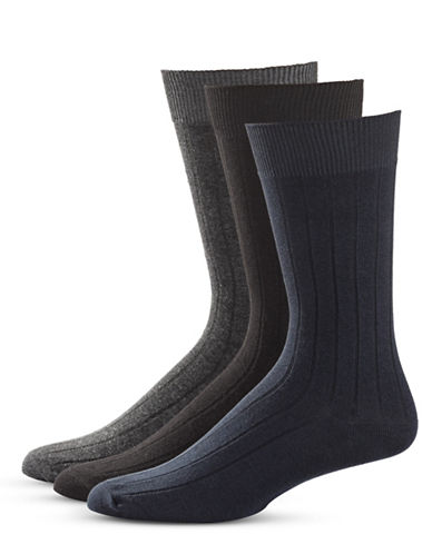 Black Brown 1826 Three-Pack Stripe Crew Socks Set-OXFORD BLACK-7-12