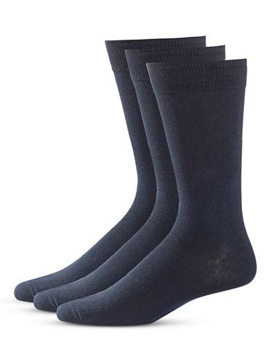 Black Brown 1826 Three-Pack Classic Socks-BLUE-7-12