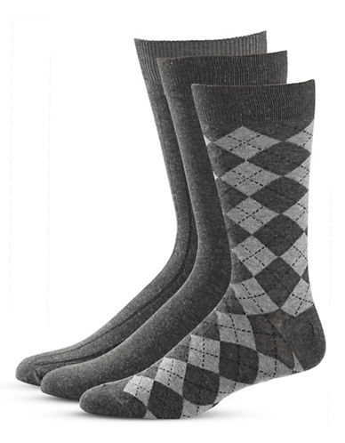 Black Brown 1826 Three-Pack Crew Socks Set-GREY-7-12