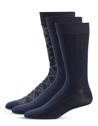Black Brown 1826 Three-Pack Crew Socks Set-BLUE-7-12