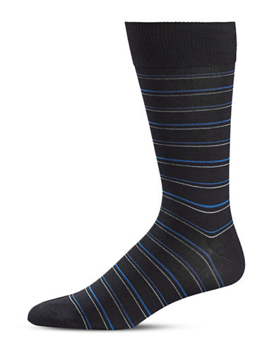 Black Brown 1826 Stripe Crew Socks-BLACK-7-12