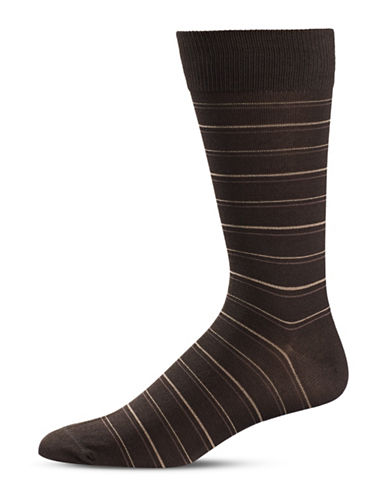 Black Brown 1826 Stripe Crew Socks-BROWN-7-12