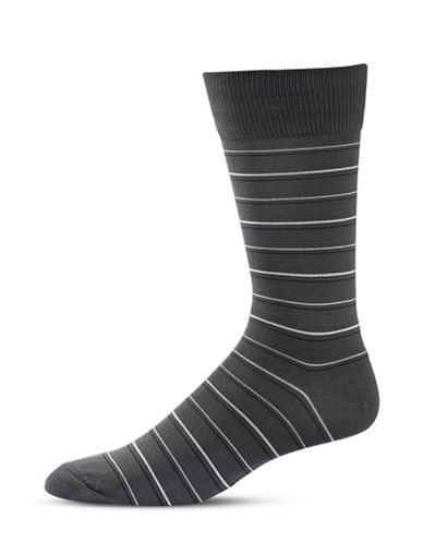 Black Brown 1826 Stripe Crew Socks-GREY-7-12