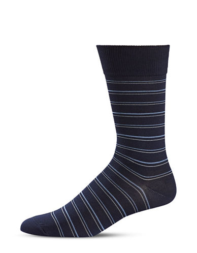 Black Brown 1826 Stripe Crew Socks-BLUE-7-12