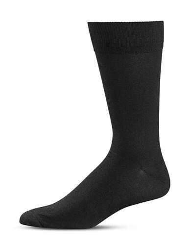Black Brown 1826 Classic Crew Socks-BLACK-7-12
