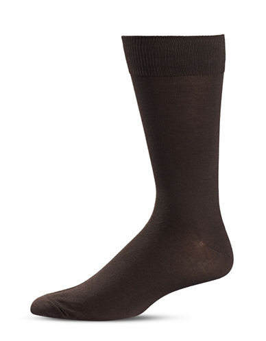 Black Brown 1826 Classic Crew Socks-BROWN-7-12
