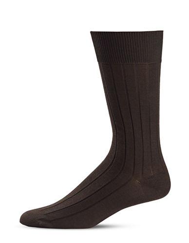 Black Brown 1826 Stripe Knit Crew Socks-BROWN-7-12