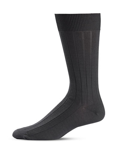 Black Brown 1826 Stripe Knit Crew Socks-GREY-7-12