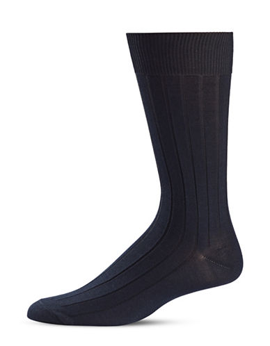 Black Brown 1826 Stripe Knit Crew Socks-BLUE-7-12