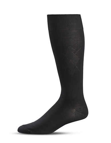 Black Brown 1826 Diamond Knit Crew Socks-BLACK-7-12