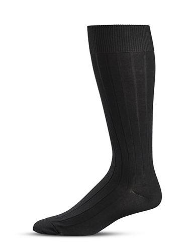 Black Brown 1826 Knit Stripe Crew Socks-BLACK-7-12
