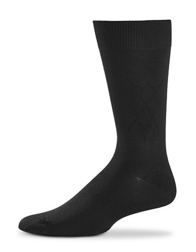 Black Brown 1826 Cross Diamond Socks-BLACK-7-12