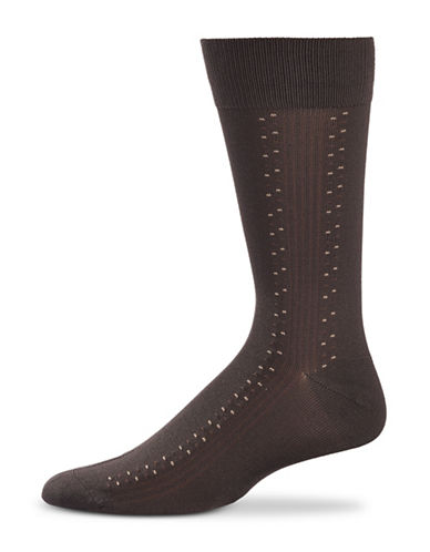 Black Brown 1826 Ribbed Microfibre Socks-BROWN-7-12