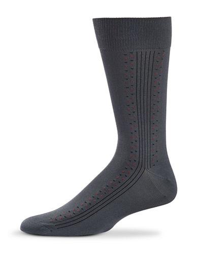 Black Brown 1826 Ribbed Microfibre Socks-GREY-7-12