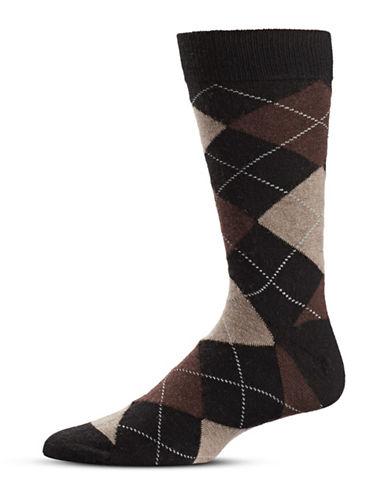 Black Brown 1826 Argyle Wool-Blend Mid-Calf Socks-BROWN-7-12