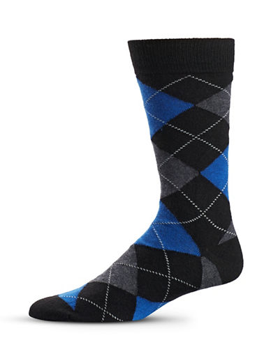Black Brown 1826 Argyle Wool-Blend Mid-Calf Socks-BLUE-7-12