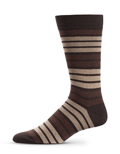 Black Brown 1826 Stripe Wool-Blend Mid-Calf Socks-BROWN-7-12