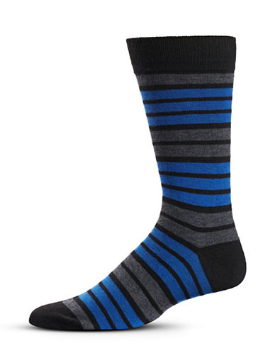 Black Brown 1826 Stripe Wool-Blend Mid-Calf Socks-BLUE-7-12