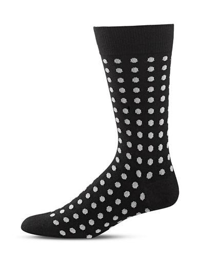 Black Brown 1826 Polka Dot Mid-Calf Socks-BLACK-7-12