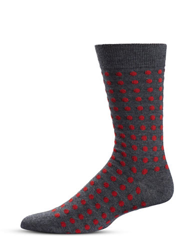 Black Brown 1826 Polka Dot Mid-Calf Socks-GREY-7-12