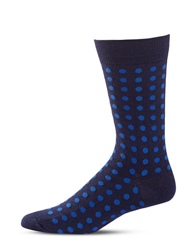 Black Brown 1826 Polka Dot Mid-Calf Socks-BLUE-7-12