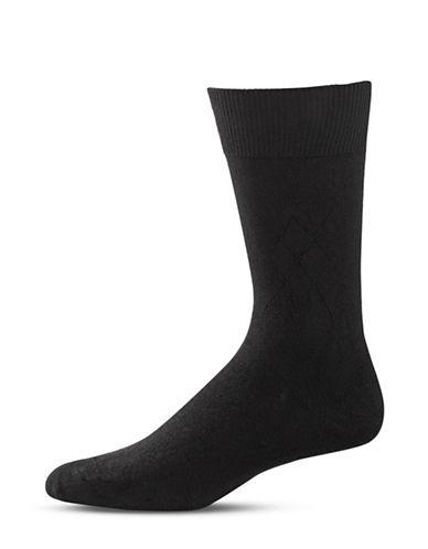 Black Brown 1826 Diamond Stitch Mid-Calf Socks-BLACK-7-12