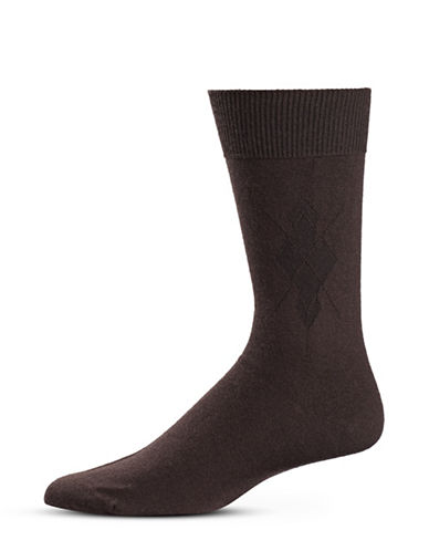 Black Brown 1826 Diamond Stitch Mid-Calf Socks-BROWN-7-12