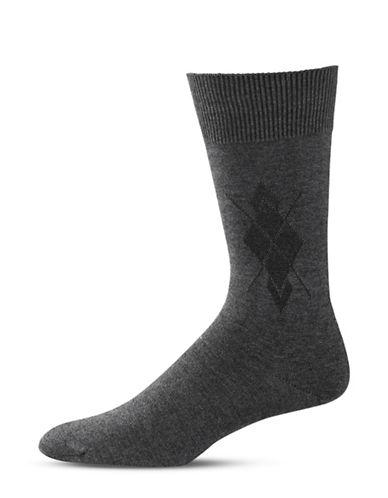 Black Brown 1826 Diamond Stitch Mid-Calf Socks-GREY-7-12