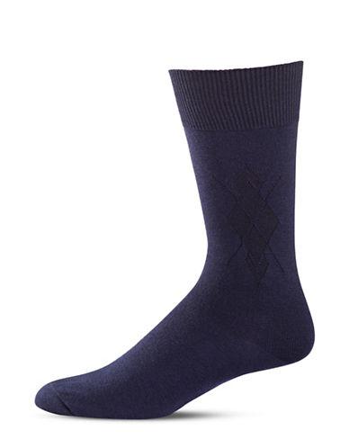 Black Brown 1826 Diamond Stitch Mid-Calf Socks-BLUE-7-12