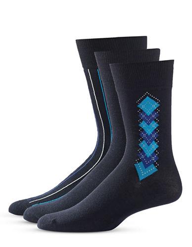 Black Brown 1826 Three-Pack Patterned Socks Set-BLUE-7-12