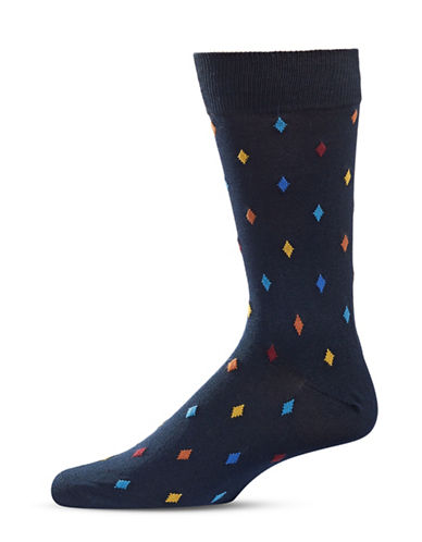 Black Brown 1826 Diamond Patterned Crew Socks-NAVY-7-12