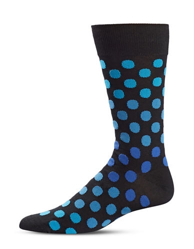 Black Brown 1826 Dotted Mid-Calf Socks-BLACK-7-12