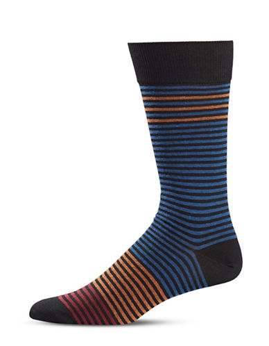 Black Brown 1826 Striped Mid-Calf Socks-BLACK-7-12