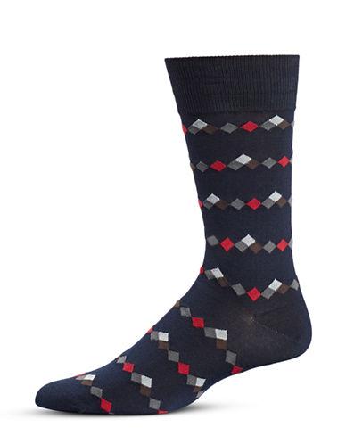 Black Brown 1826 Diamond-Print Socks-NAVY-7-12