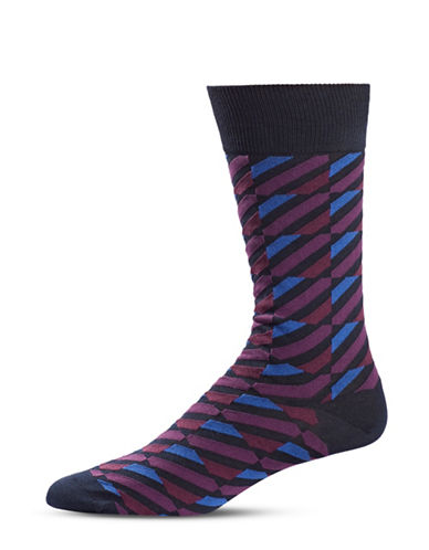 Black Brown 1826 Diagonal-Stripe Mid-Calf Socks-NAVY-7-12