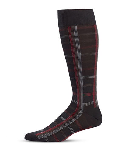 Black Brown 1826 Linear Mid-Calf Socks-BLACK-7-12