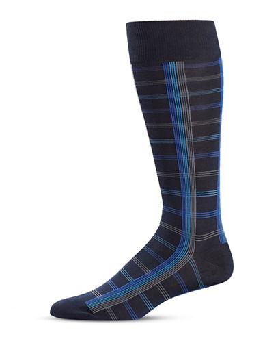 Black Brown 1826 Linear Mid-Calf Socks-NAVY-7-12